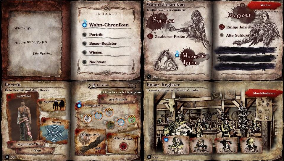 Dieses Bild zeigt vier verschiedene Doppelseiten des Buches Librom, darunter das Inhaltsverzeichnis, ein Teil der Missionsauswahl und den Basar.